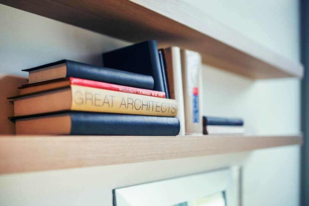 hiring an architect great architects book - wooden shelf